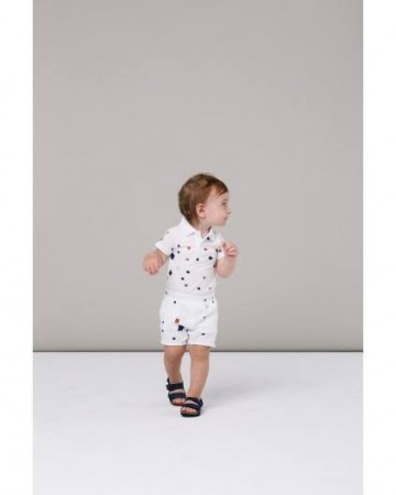 MarMar - Polo body, white square print