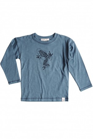 By Heritage - Ted longsleeve, sea blue frontprint