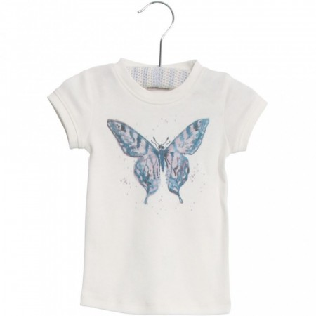 Wheat - Butterfly watercolour t-skjorte, ivory